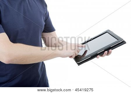 young man using touch pad, close up shot on tablet pc, isolated