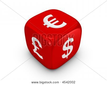 Red Dice With Curreny Sign