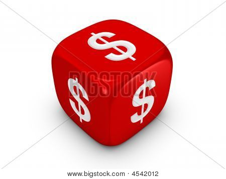 Red Dice With Dollar Sign