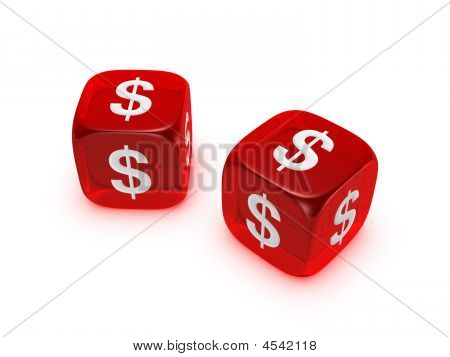 Pair Of Translucent Red Dice With Dollar Sign