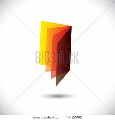 Symbol(icon) Of Empty Book(booklet) With Papers- Vector Graphic