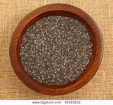 Close Up Of Chia Seeds In Wooden Bowl