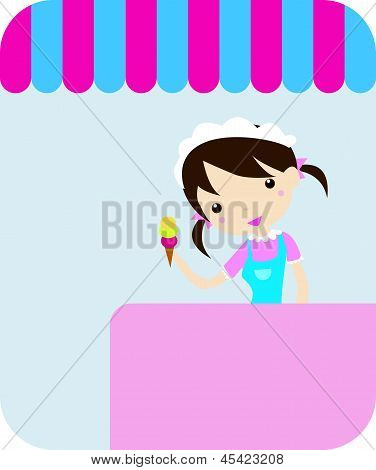 smiling girl-confectioner with icecream