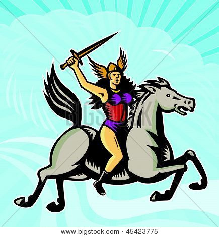 Valkyrie Amazon Warrior Riding Horse