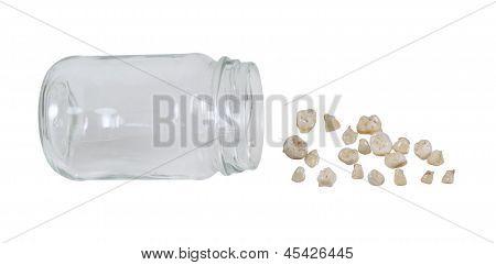 Dentes de bebê de um frasco