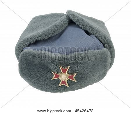 Grey Fur Cap Cross Pin