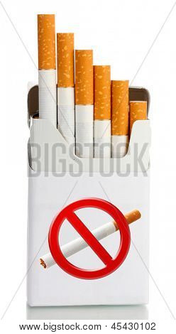 Box of cigarettes, isolated on white