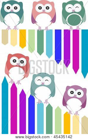 Set Of Colorful Owls With Different Expressions