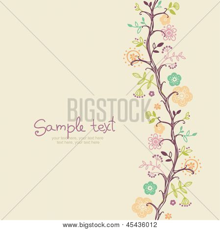 card with floral background. vertical seamless pattern.