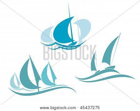 游艇和帆船 库存矢量图和库存照片