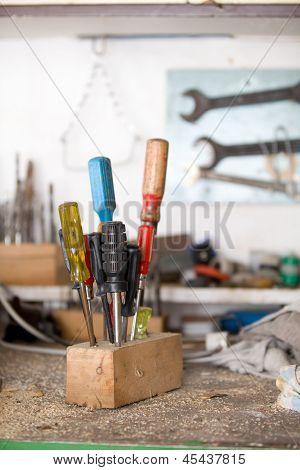 Set Of Used Screwdrivers In Workshop