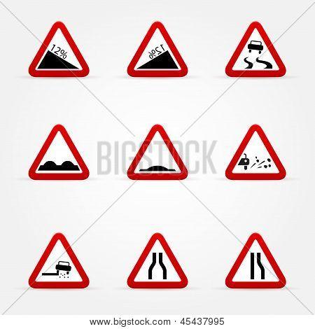 Set Of Warnings Road Signs