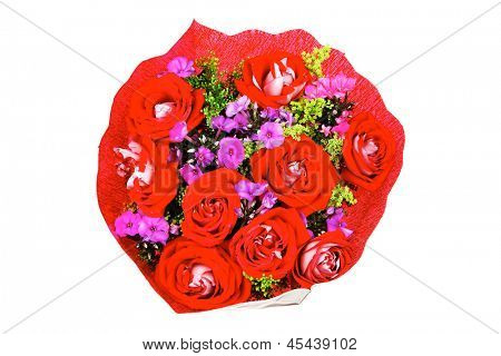 flowers : big bouquet of rose and pansy flowers with green grass in red wrapping paper isolated over white background