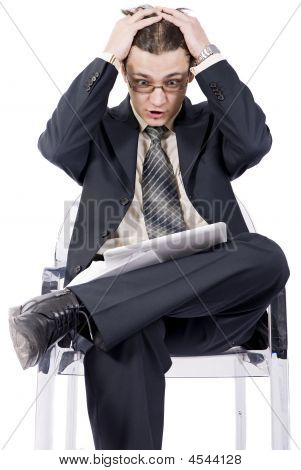 Businessman With Laptop, Holding Head In Hands