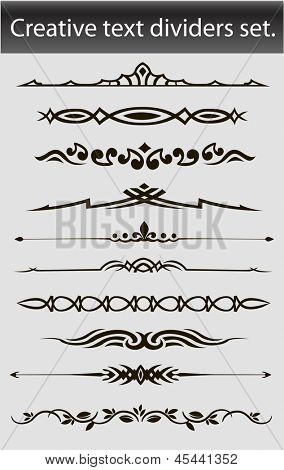 Creative text dividers set. Vector illustration