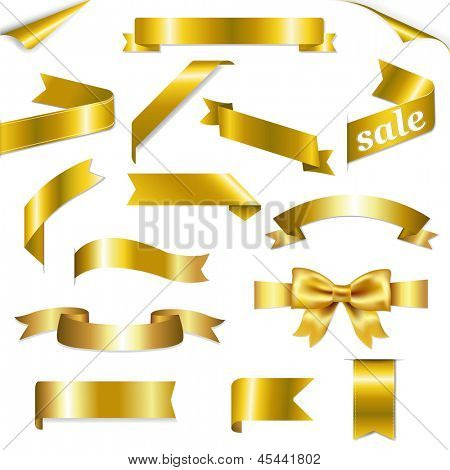 Golden Web Ribbons Set With Gradient Mesh, Isolated On White Background, Vector Illustration