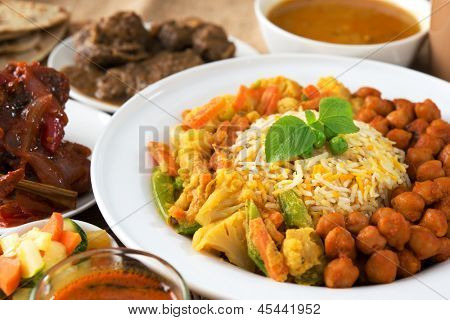 Indian food biryani rice and curry.