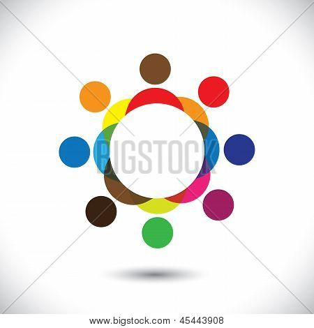 Abstract Colorful People Symbols In Circle- Vector Graphic