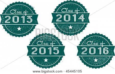 Class of 2013, 2014, 2015 and 2016 School Graduation Stamps