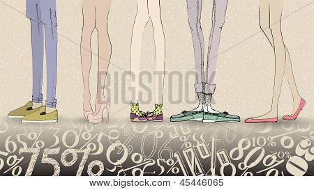 Big Sale Vector Illustration With Hand Drawn Fashion Girl's and Boy's Legs