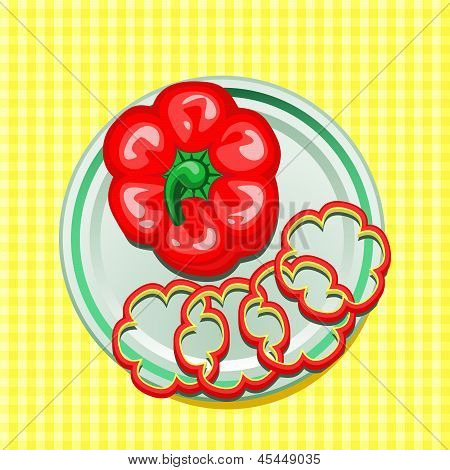 red sweet pepper on a plate with slices