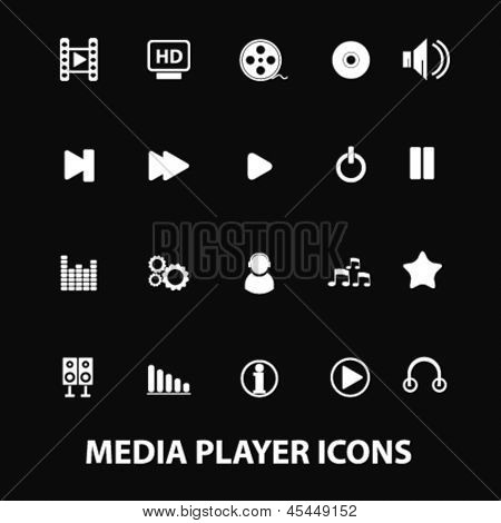 media, music, video, audio, mp3 player white isolated icons, signs on black background for design template, vector set