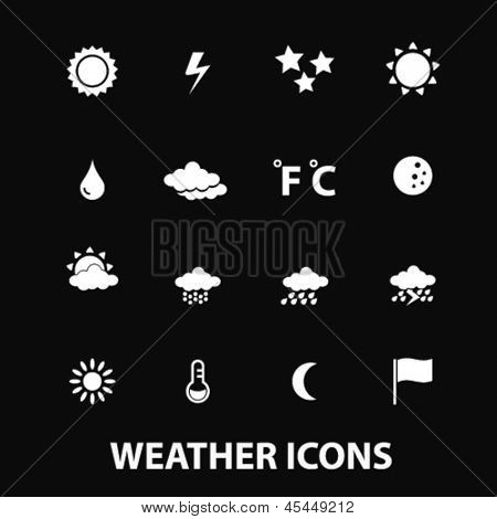 weather, climate, sun, clouds white isolated icons, signs on black background for design template, vector set