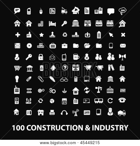 construction, industry,workers, equipment,  big business white isolated icons, signs on black background for design template, vector set