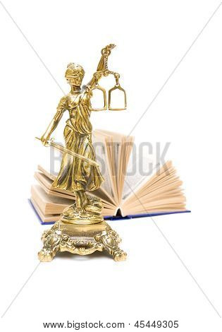 Bronze Statue Of Justice And The Book. Vertical Photo.