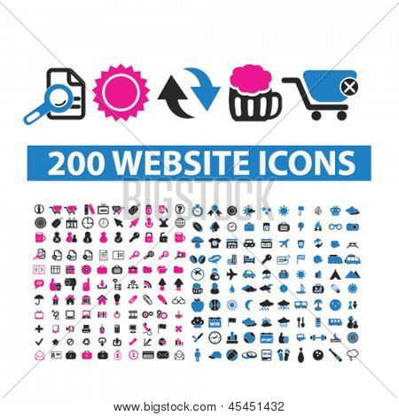 200 website isolated icons: travel, food, internet, business, finance, media, document, office, nature, commerce, sales set, vector