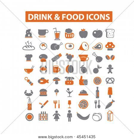 drink & food, vegetables, fruits, bakery, restaurant, cafe store isolated icons, signs set, vector