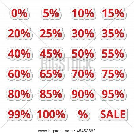 Retail sale percents % vector red icons set