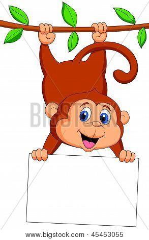 Caricatura lindo mono con signo en blanco