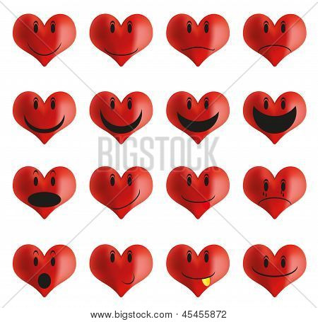 Set Of Heart Shaped Smiles