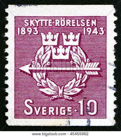 Estampilla Suecia 1943 Rifle Federación emblema