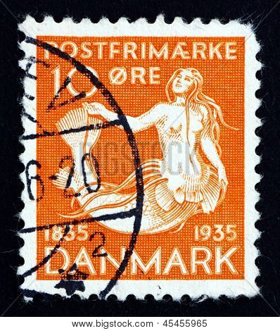 DENMARK - CIRCA 1993: a stamp printed in the Denmark shows The Little Mermaid, Centenary of the Publication of the Earliest Installment of H. C. Andersen's Fairy Tales, circa 1993