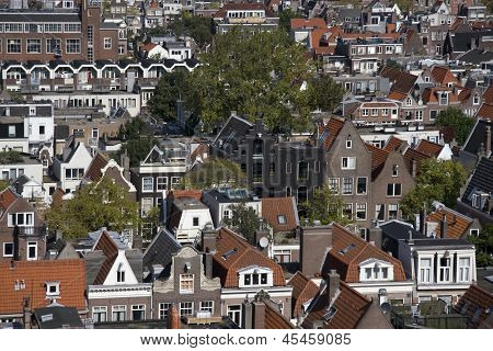View of the Jordaan from the Westerkerk in Amsterdam Netherlands
