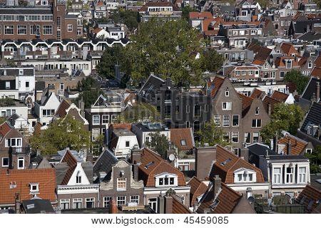 View of the Jordaan from the Westerkerk in Amsterdam Netherlands