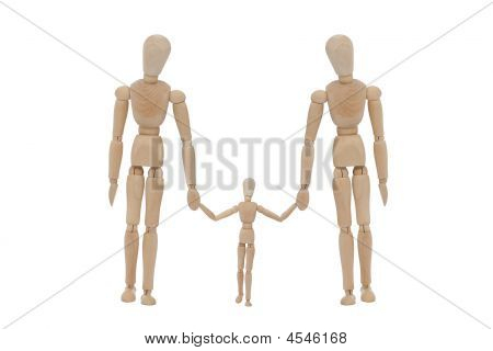 Wooden Man With Family