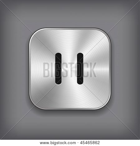 Pause - Media Player Icon - Vector Metal App Button