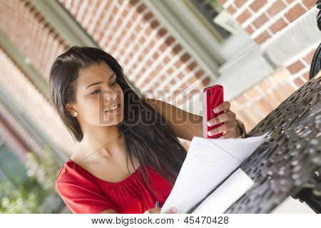 Young Female Using Her Mobile Phone To Text