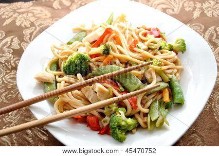 Chop Sticks on Chicken Lo Mein