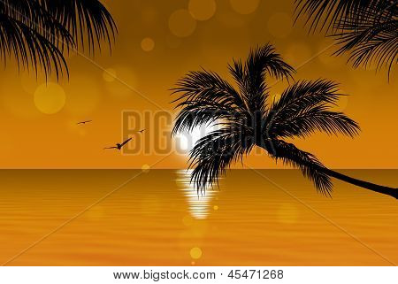 Gold Tropical Sunset