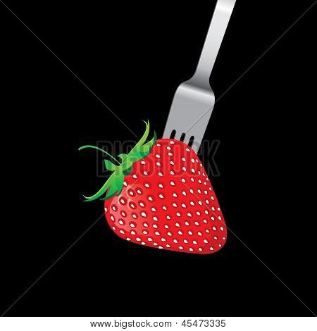 Strawberry With Fork Vector