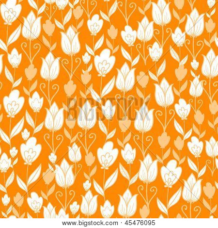 Golden tulips flowers seamless pattern background