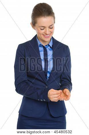 Happy Business Woman Adjusting Cuff