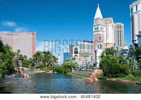 Treasure Island And Venetian Casino Hotel Resort On The Las Vegas Strip