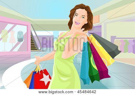 Menina compra em um shopping