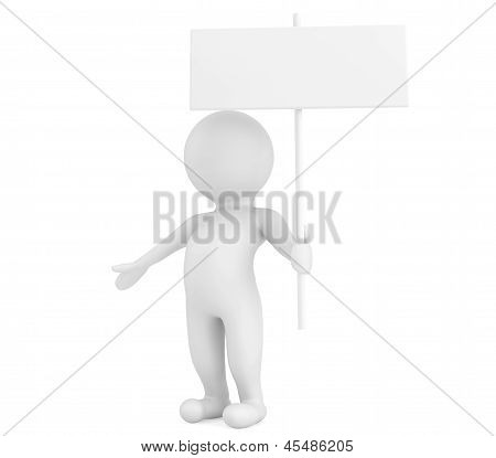 3D Person With Blank Sign Board
