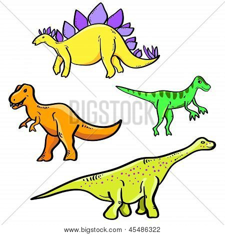 Colorful cartoon dinosaurs collection on white, vector